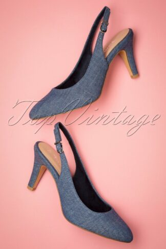 50s Tessy Slingback Pumps in Denim