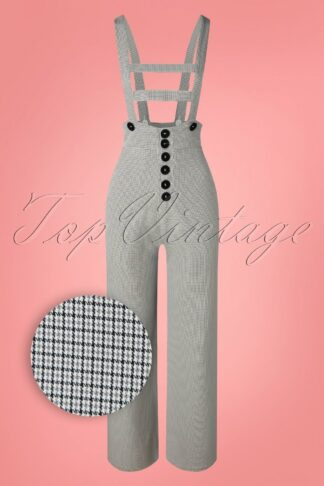 50s Wynonna Houndstooth Trousers with Braces in White