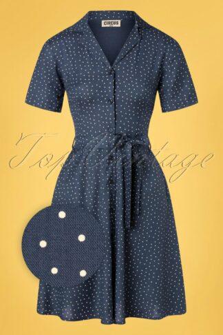 60s Anna Pin Dot Button Down Dress in Grey Blue