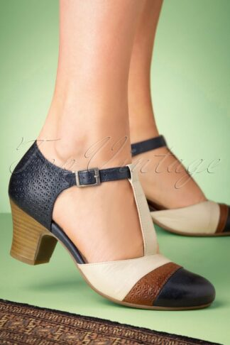 60s Flare Leather T-Strap Pumps in Denim and Cream