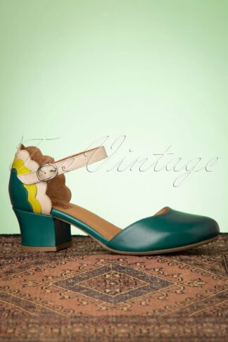 60s Flaunt Leather Pumps in Turquoise