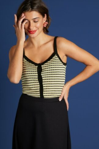 60s Isa Inglewood Knit Camisole Top in Black