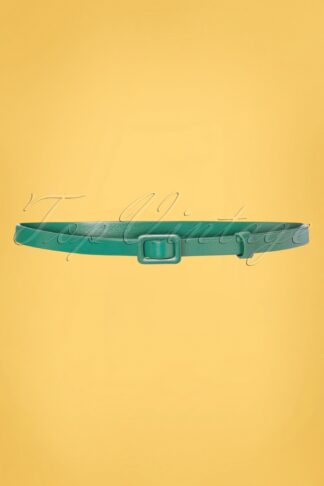 60s Leather Covered Belt in Eden Green