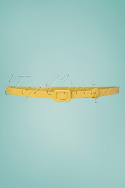 60s Leather Covered Belt in Lemon Yellow