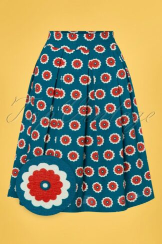 60s Lilly Floral Swing Skirt in Blue and Red
