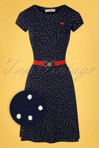 60s Oh Yeah Polkadot Dress in Navy