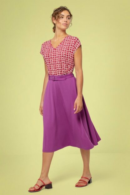 60s Shana Belt Skirt in Vibrant Lilac