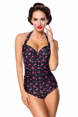 Belsira Vintage Badeanzug mit Flamingomuster
