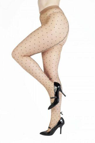 Polka Dot Strumpfhose mit schwarzer Naht