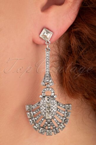 20s Art Deco Drop Earrings in Crystal and Silver