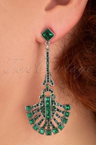 20s Art Deco Drop Earrings in Emerald and Silver
