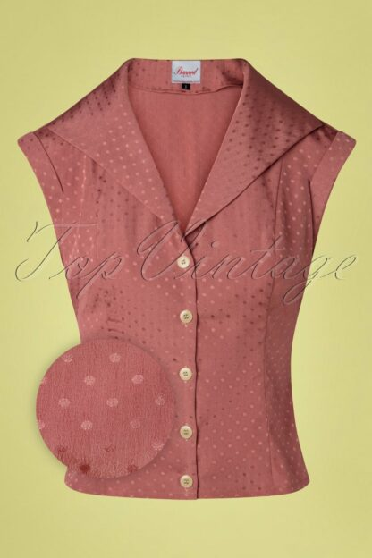 40s Afternoon Tea Spot Blouse in Blush