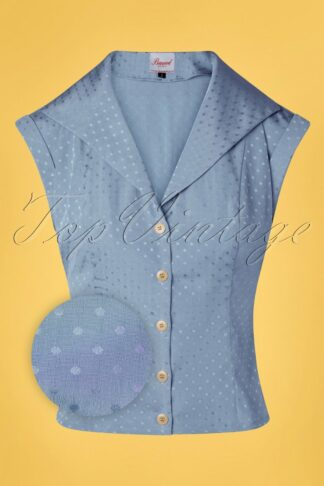 40s Afternoon Tea Spot Blouse in Light Blue