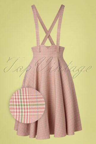 40s Helena Plaid Suspender Swing Skirt in Pink
