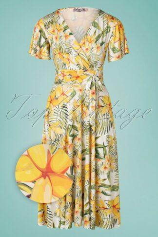 40s Irene Floral Cross Over Swing Dress in White