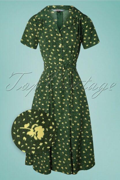 40s Lady Pearl Swing Dress in Green