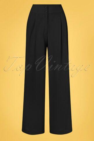 40s Sophia Plazzo Wide Leg Trousers in Black