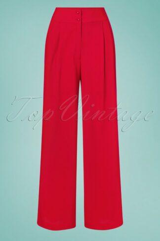 40s Sophia Plazzo Wide Leg Trousers in Red