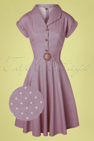 40s Spot Perfection Fit and Flare Swing Dress in Lilac