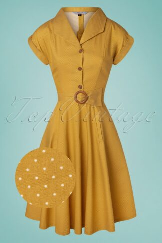 40s Spot Perfection Fit and Flare Swing Dress in Mustard