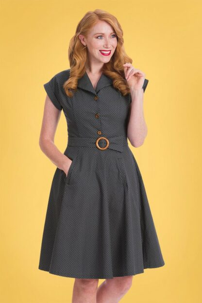40s Spot Perfection Fit and Flare Swing Dress in Navy
