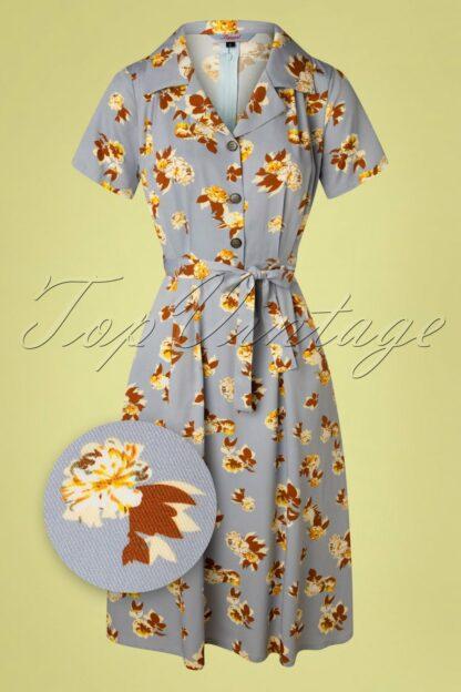 40s Sweet Tropicana Swing Dress in Light Blue
