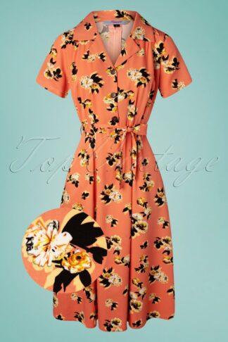 40s Sweet Tropicana Swing Dress in Peachy Orange