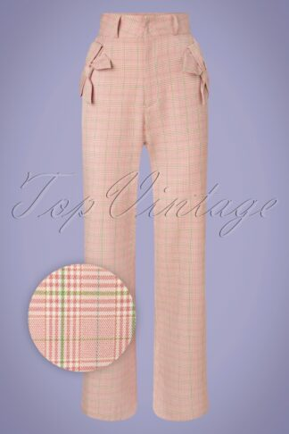 40s Tammy Bow Wide Trousers in Pink Plaid