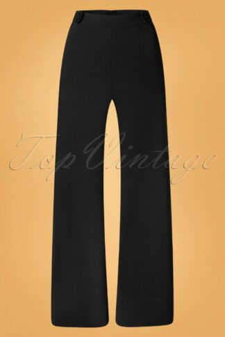 40s Viola Wide Trousers in Black