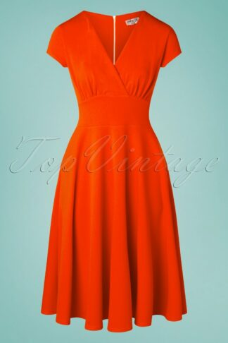 50s Addison Swing Dress in Tango Orange