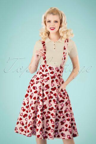 50s Alexa Strawberry Swing Skirt in Pink