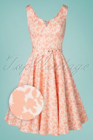 50s Alora Floral Swing Dress in Ivory and Peach