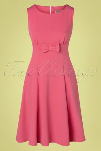 50s Amely Bow Swing Dress in Rose Pink
