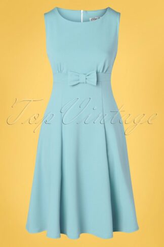 50s Amely Bow Swing Dress in Sky Blue