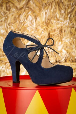 50s Angie At The Fair Suede Pumps in Navy