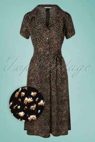 50s Animal Instincts Swing Dress in Black