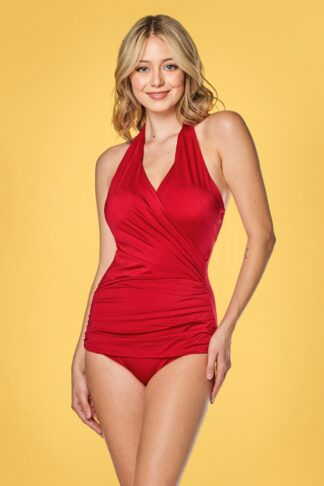 50s Ann Margaret One Piece Halter Swimsuit in Red