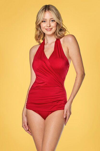 50s Ann Margaret One Piece Halter Swimsuit in Red