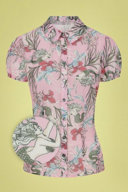 50s Attina Mermaid Blouse in Pink