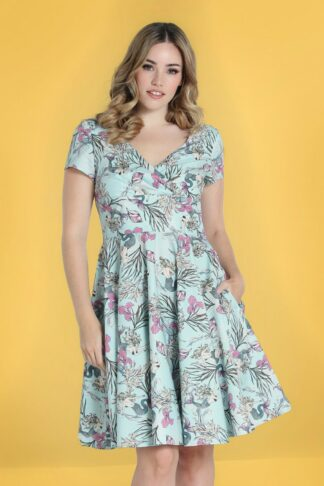 50s Attina Swing Dress in Light Blue