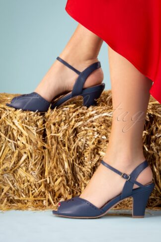 50s Ava At The Kissing Booth Sandals in Navy