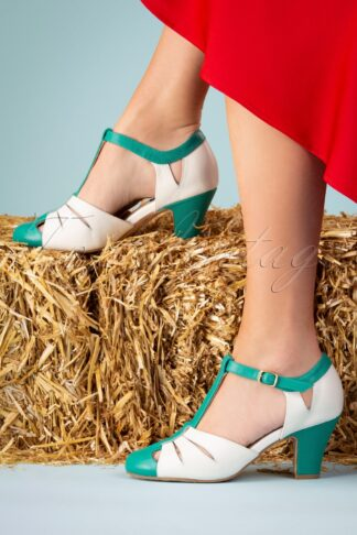 50s Ava Fortune Teller Pumps in Ivory and Jade