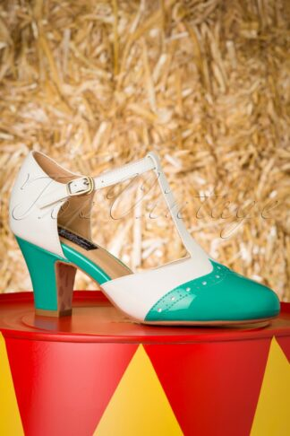 50s Ava Popsicle Pumps in Ivory and Jade
