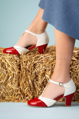 50s Ava Popsicle Pumps in Ivory and Red
