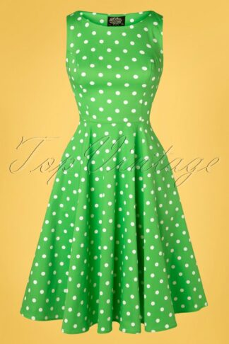 50s Carly Polkadot Swing Dress in Green and White