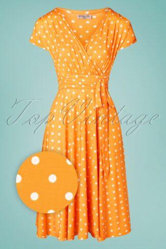 50s Caryl Polkadot Swing Dress in Marigold