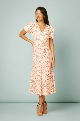 50s Catherine Dots Maxi Dress in Ivory and Ochre