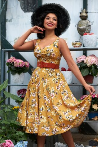 50s Chandra Tuscany Floral Swing Dress in Ochre