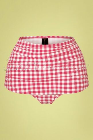 50s Classic Gingham Bikini Pants in Red and White