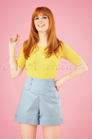 50s Cute As A Button Shorts in Baby Blue